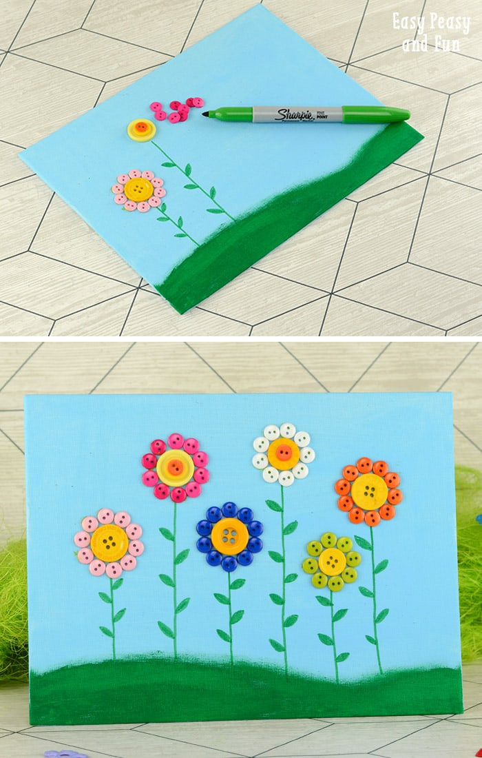Best ideas about Canvas Crafts For Toddlers . Save or Pin Button Flowers Canvas Easy Peasy and Fun Now.