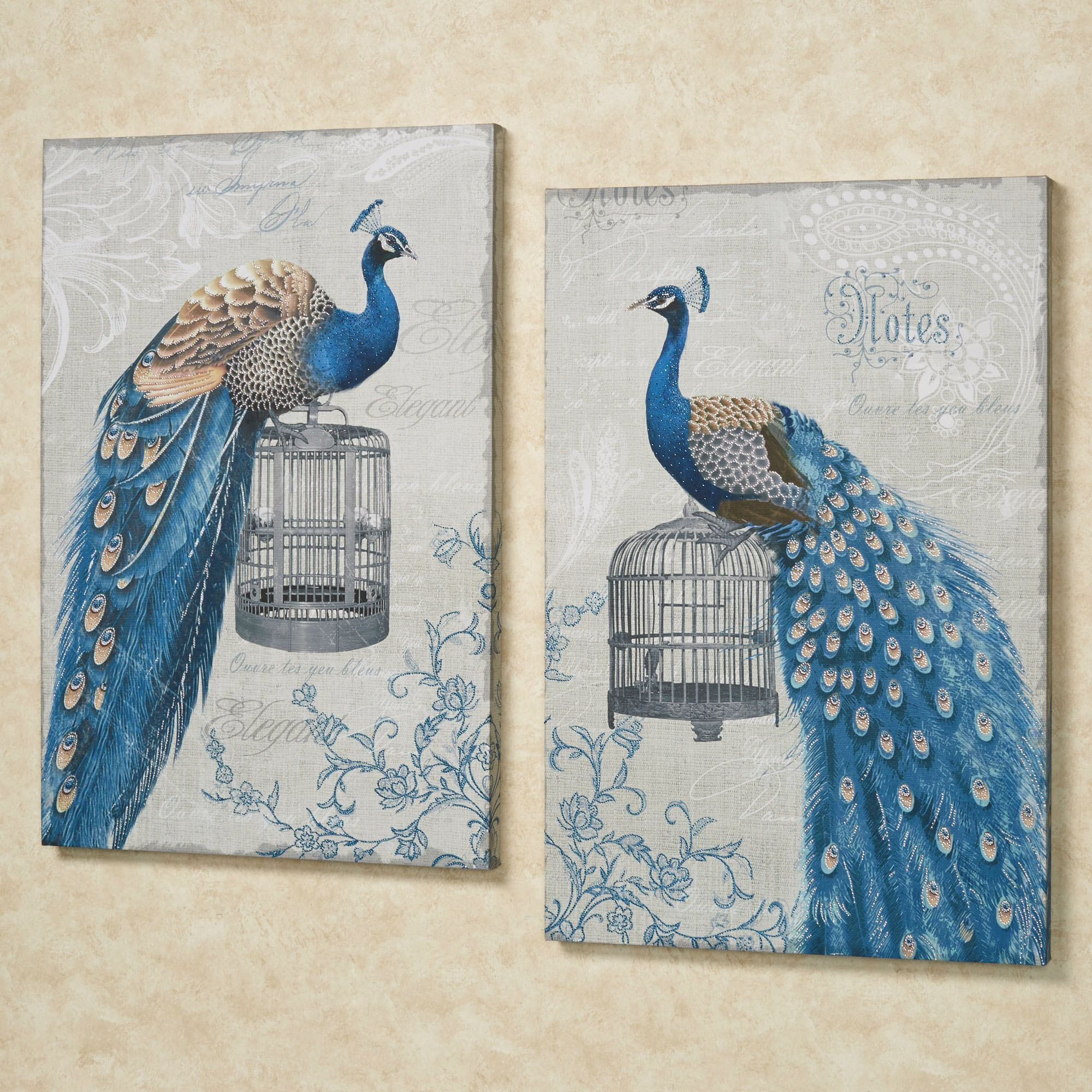 Best ideas about Canvas Wall Art Sets . Save or Pin Regal Peacocks Canvas Wall Art Set Now.