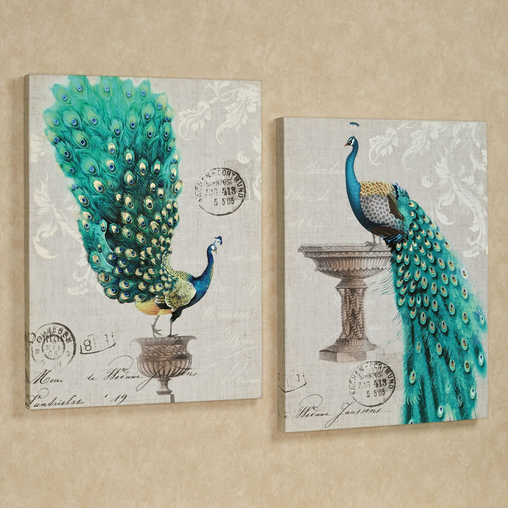 Best ideas about Canvas Wall Art Sets . Save or Pin Peacock Fanfare Giclee Canvas Wall Art Set Now.