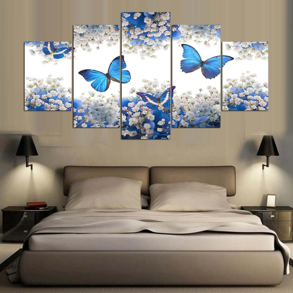 Best ideas about Canvas Wall Art Sets . Save or Pin Framed 5 Piece Blue Butterfly Canvas Wall Art Sets – It Now.