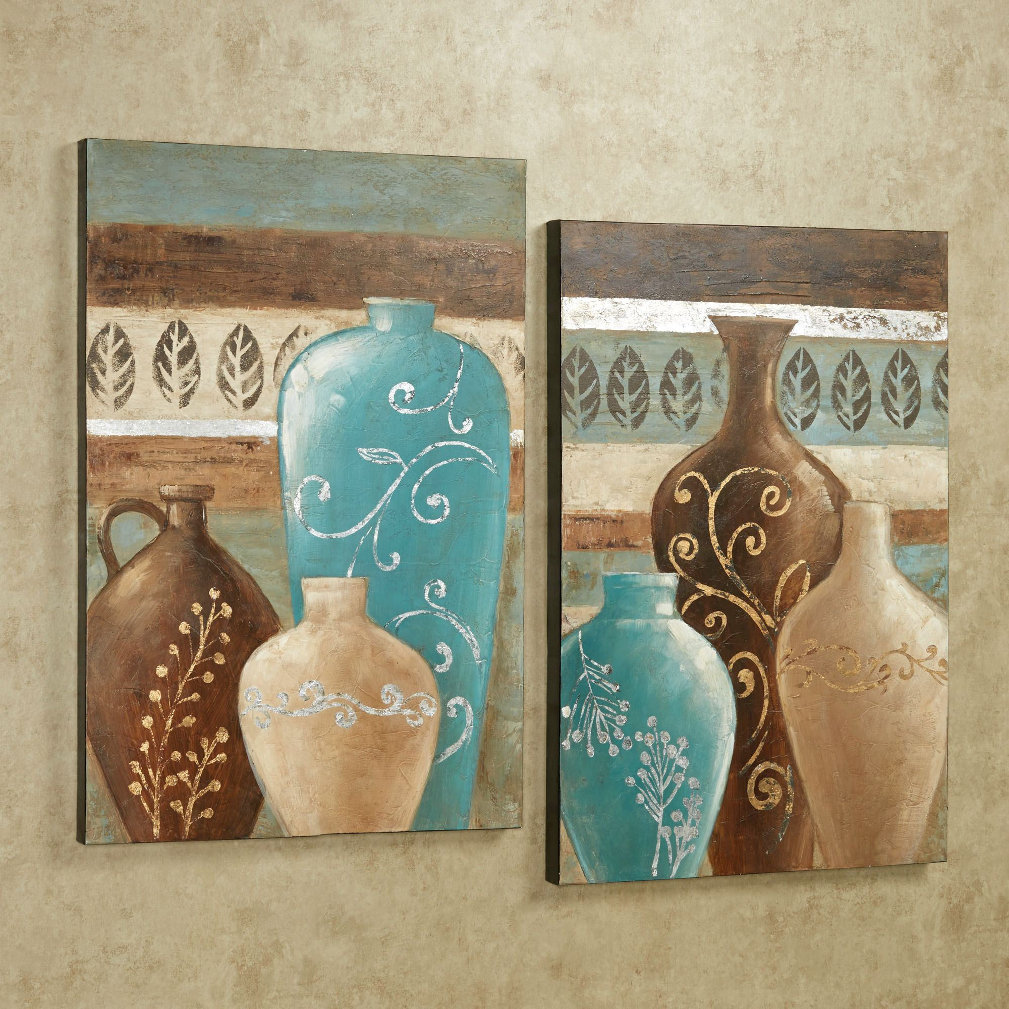 Best ideas about Canvas Wall Art Sets . Save or Pin Exotic Vases Handpainted Canvas Wall Art Set Now.