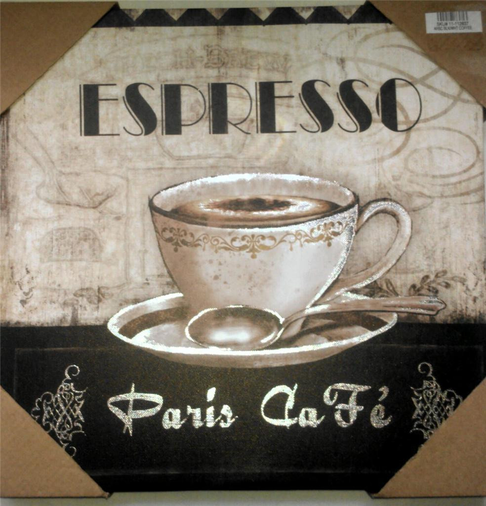 Best ideas about Cappuccino Kitchen Decor . Save or Pin COFFEE THEME ESPRESSO PARIS CAFE BISTRO CANVAS PICTURES Now.