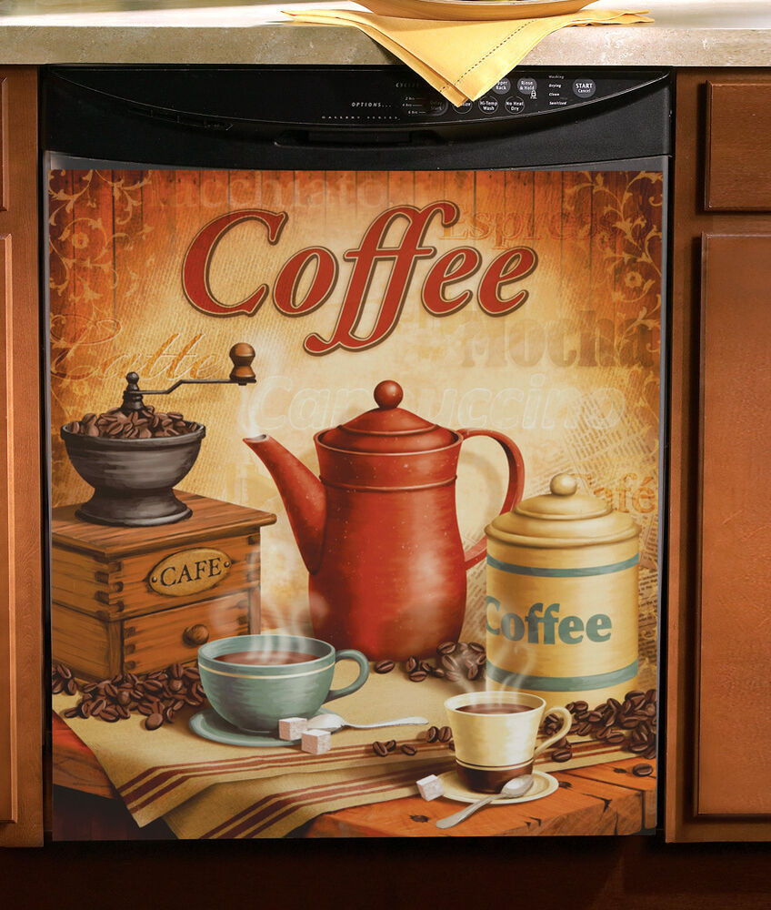 "Best ideas about Cappuccino Kitchen Decor . Save or Pin Vintage Coffee Kitchen Magnetic Dishwasher Cover 23"" x 26 Now."