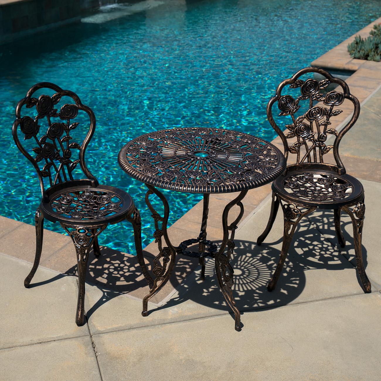 Best ideas about Cast Aluminum Patio Furniture . Save or Pin 3pcs Outdoor Patio Furniture Cast Aluminum Bistro Set Now.