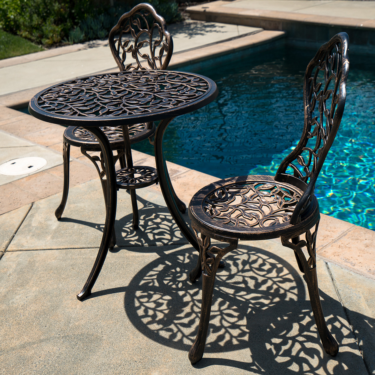 Best ideas about Cast Aluminum Patio Furniture . Save or Pin 3PC Bistro Set in Antique Outdoor Patio Furniture Leaf Now.