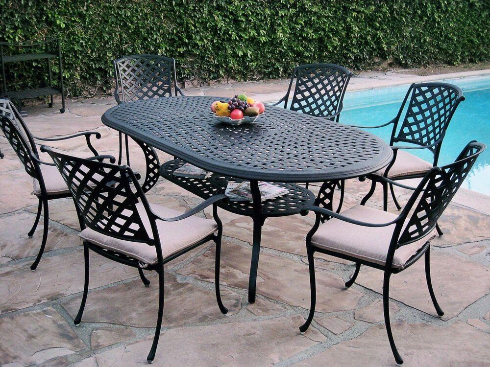 Best ideas about Cast Aluminum Patio Furniture . Save or Pin 7 Piece Outdoor Patio Furniture Cast Aluminum Dining Set Now.
