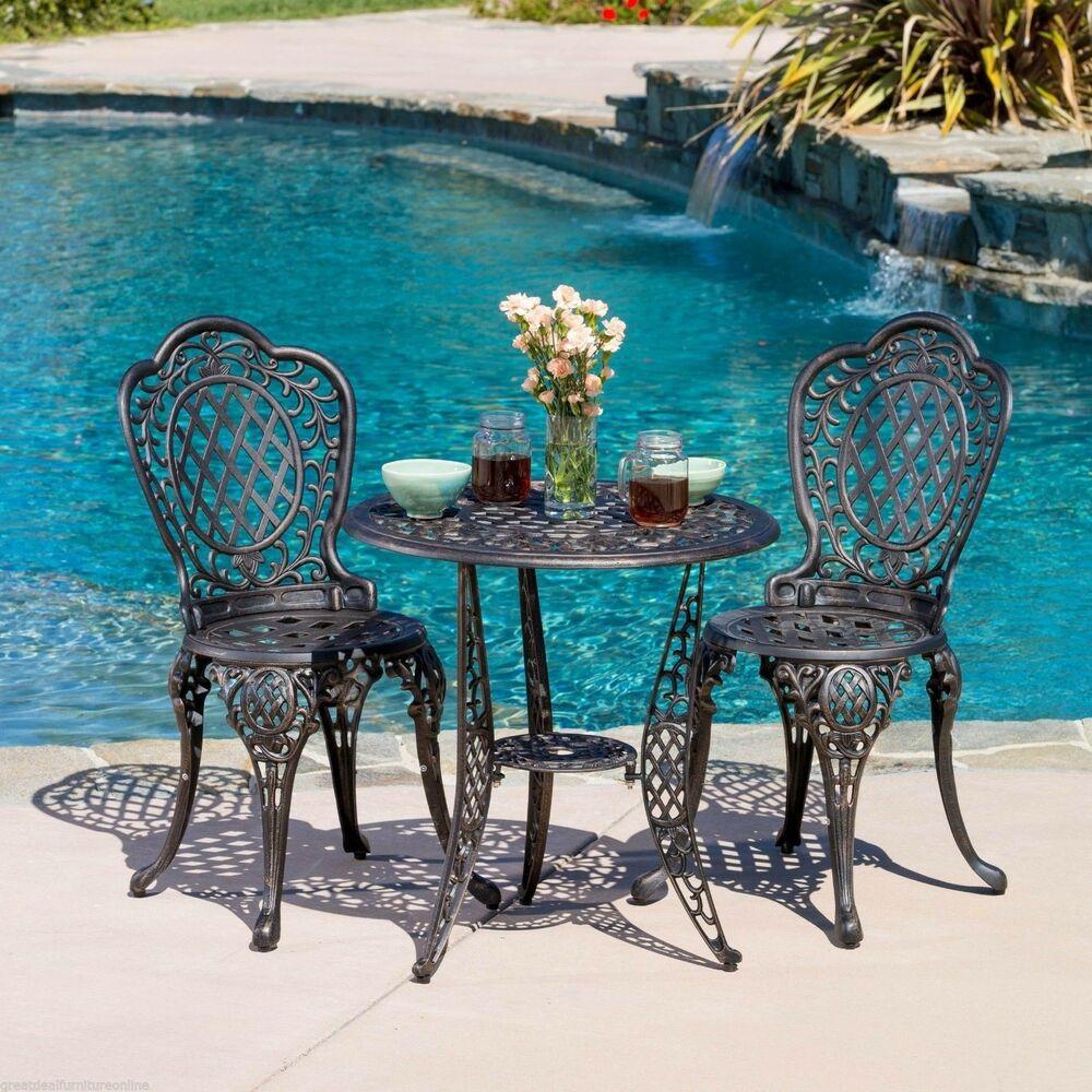 Best ideas about Cast Aluminum Patio Furniture . Save or Pin Outdoor Patio Furniture 3pcs Cast Aluminum Bistro Set in Now.