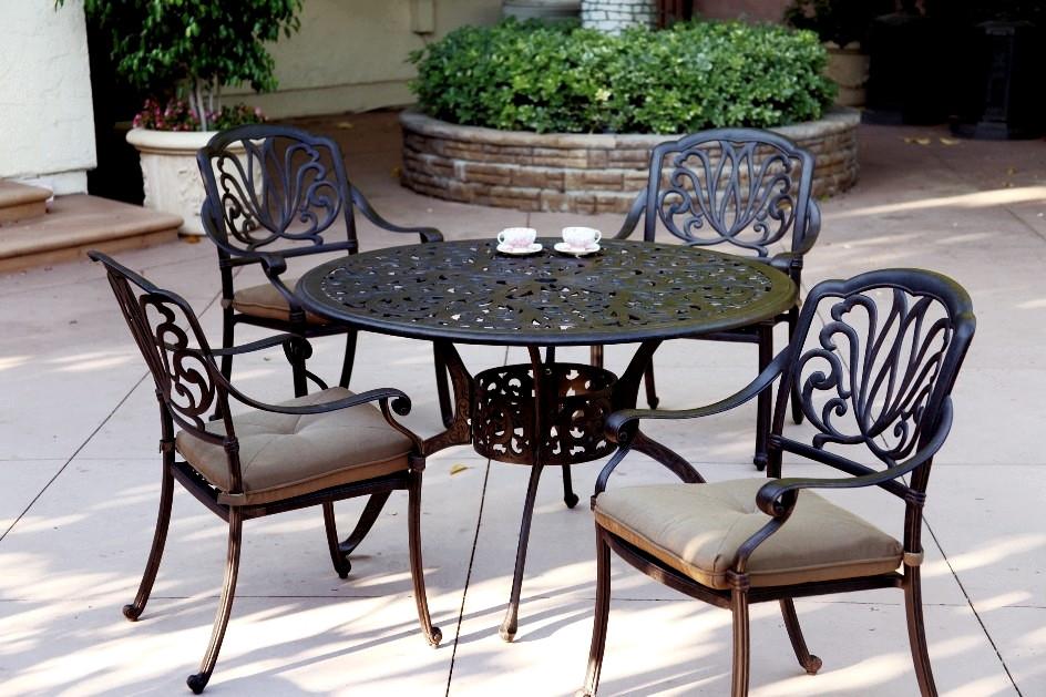 "Best ideas about Cast Aluminum Patio Furniture . Save or Pin Patio Furniture Dining Set Cast Aluminum 48"" Round Table Now."