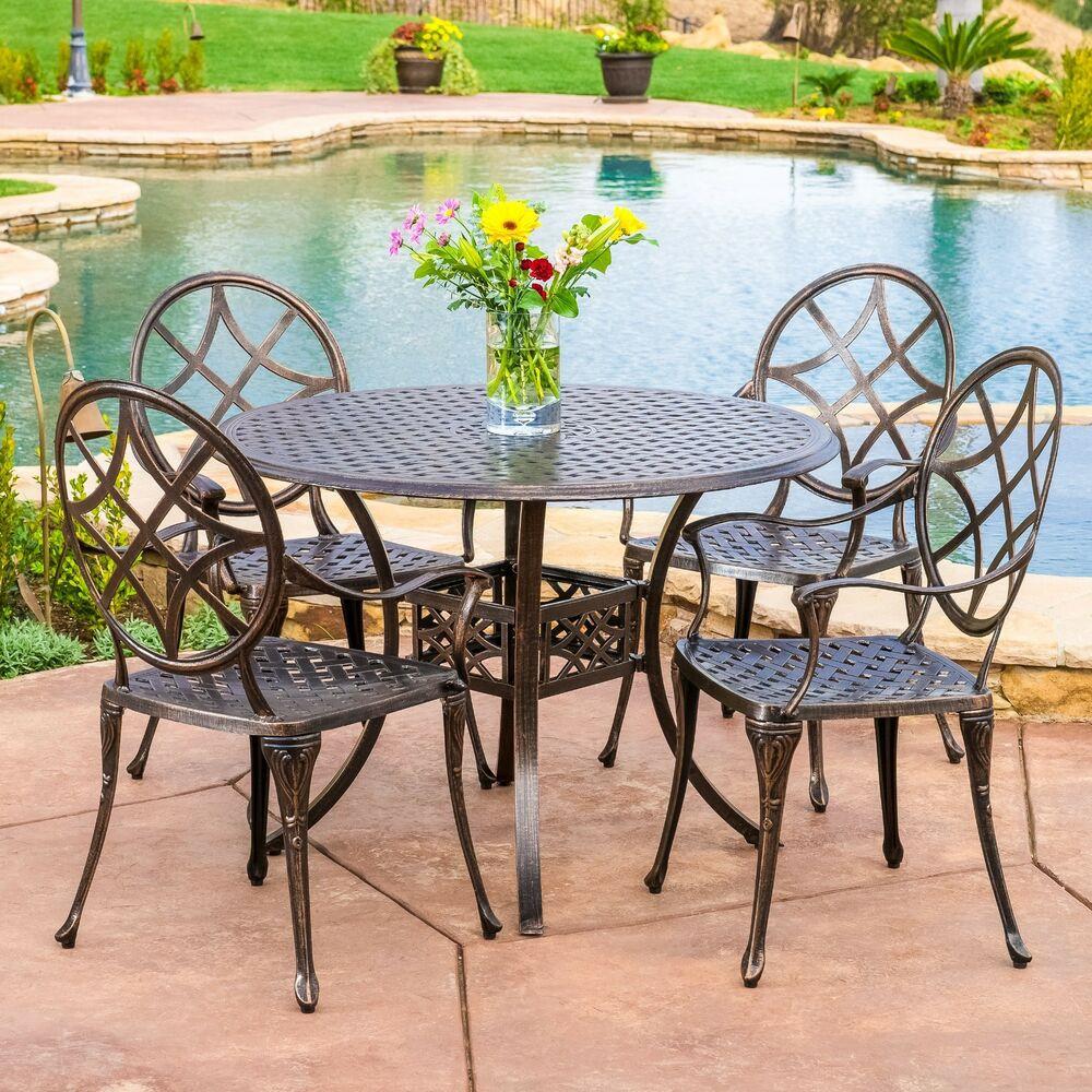 Best ideas about Cast Aluminum Patio Furniture . Save or Pin Outdoor Patio Furniture 5pcs Copper Cast Aluminum Dining Now.