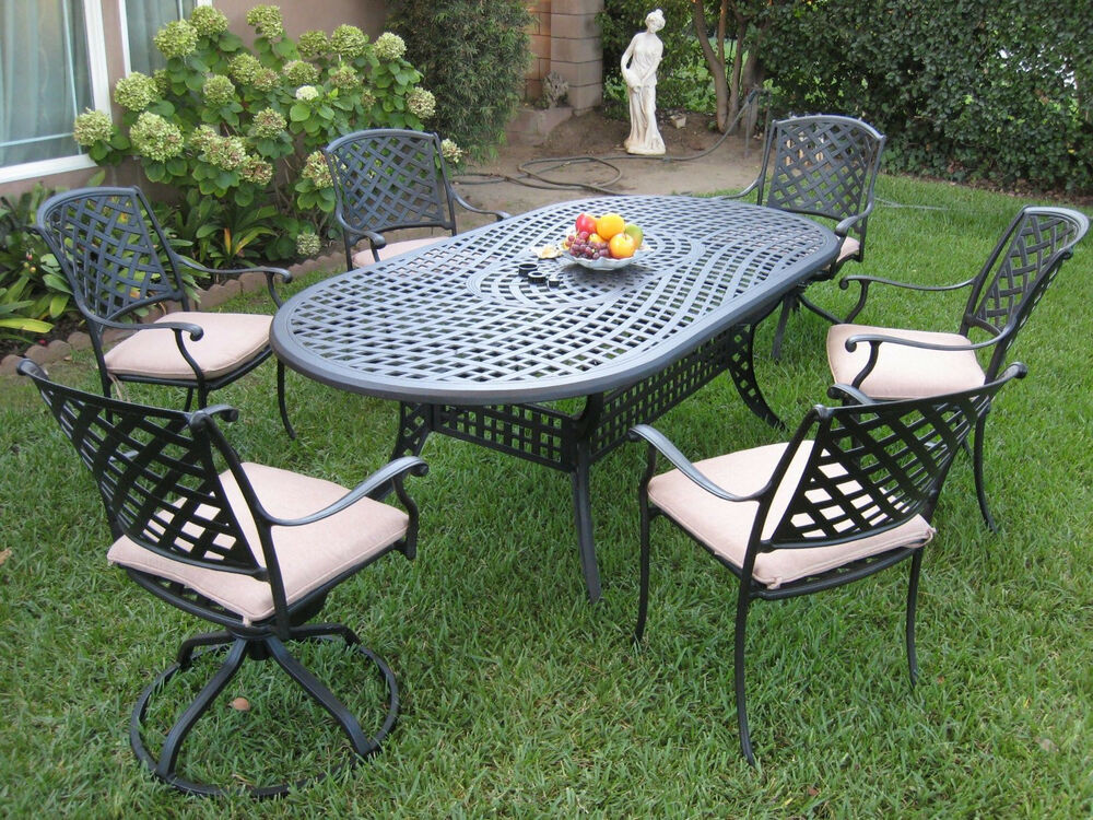 Best ideas about Cast Aluminum Patio Furniture . Save or Pin Outdoor Cast Aluminum Patio Furniture 7 Piece Dining Set Now.