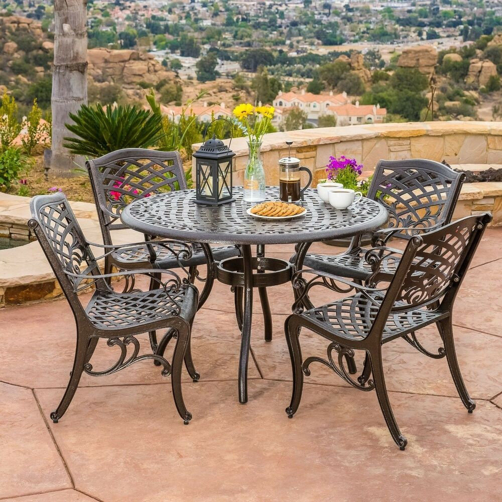 Best ideas about Cast Aluminum Patio Furniture . Save or Pin Outdoor Patio Furniture 5pcs Bronze Cast Aluminum Dining Now.