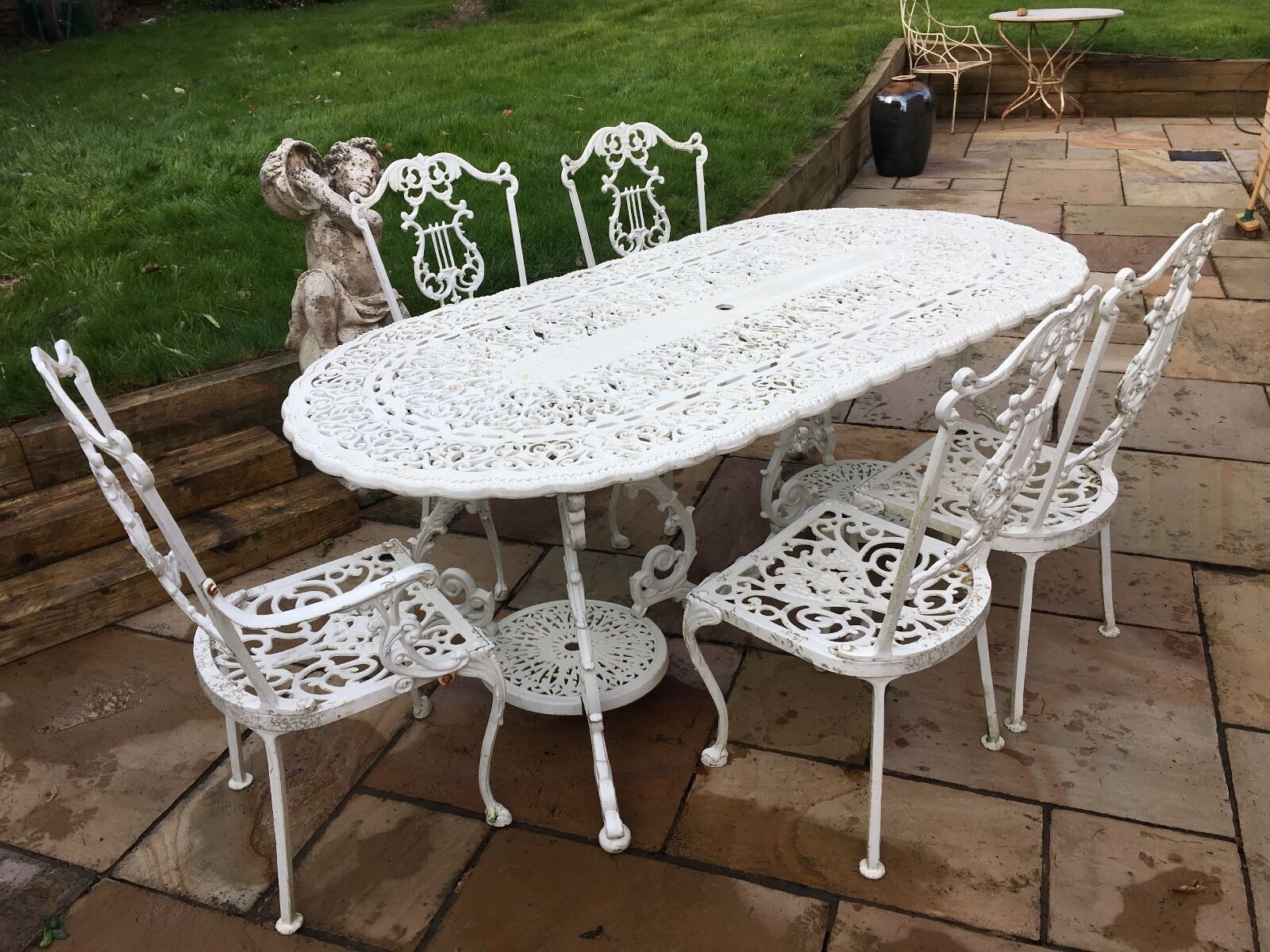 Best ideas about Cast Iron Patio Furniture . Save or Pin CAST IRON GARDEN furniture Table and 5 Chairs White Now.