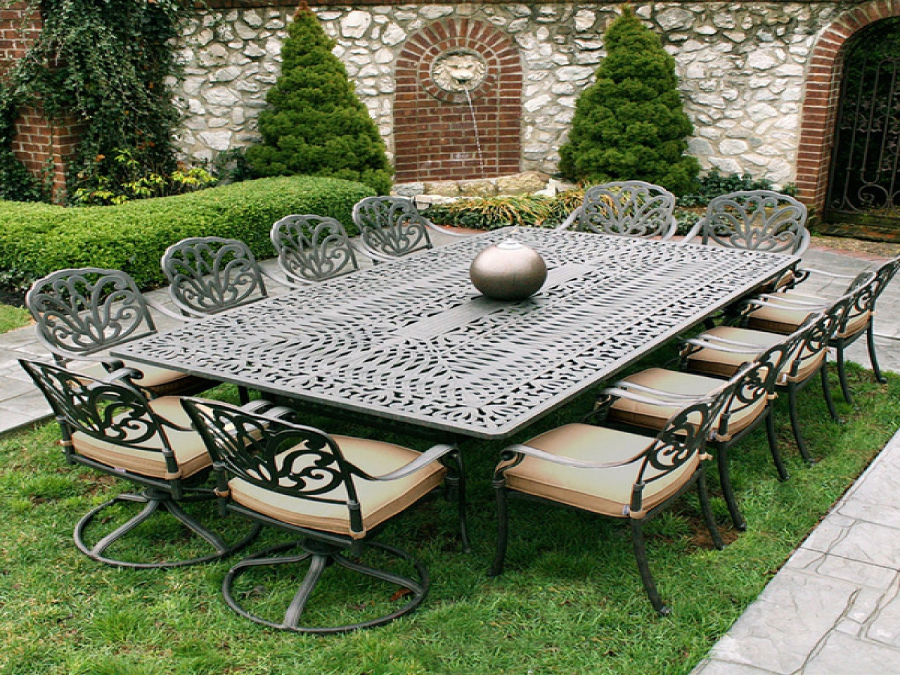 Best ideas about Cast Iron Patio Furniture . Save or Pin White metal garden table and chairs iron patio furniture Now.