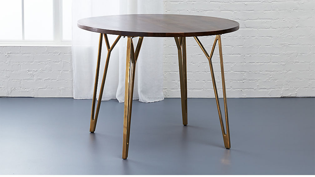 Best ideas about Cb2 Dining Table . Save or Pin dial round walnut dining table Now.