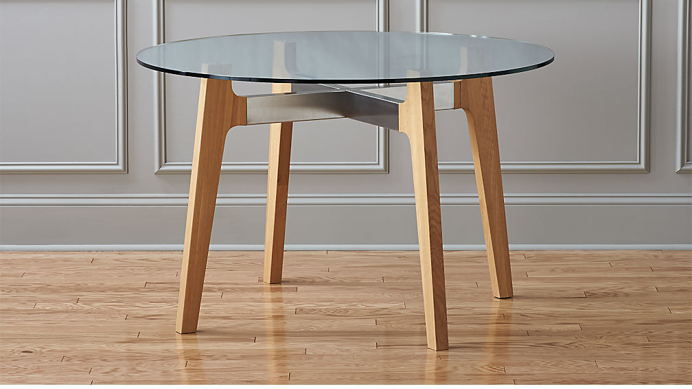 Best ideas about Cb2 Dining Table . Save or Pin brace wood and glass dining table Now.