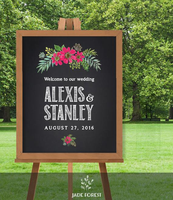 Best ideas about Chalkboard Wedding Signs DIY . Save or Pin Items similar to Wedding Wel e Sign Chalkboard Flower Now.