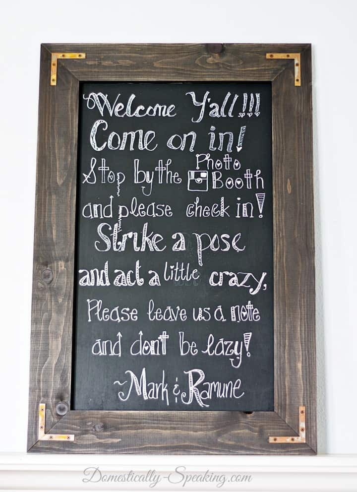 Best ideas about Chalkboard Wedding Signs DIY . Save or Pin DIY Rustic Chalkboard for a Wedding Domestically Speaking Now.