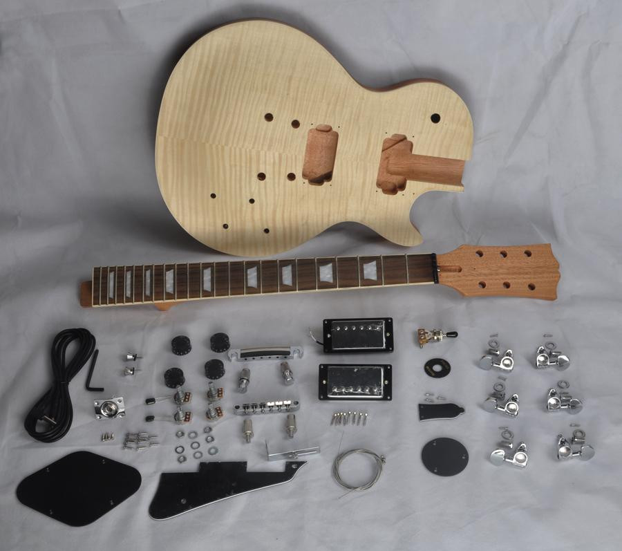 Best ideas about Cheap DIY Guitar Kits . Save or Pin DIY Electric Guitar Kit With Mahogany Body Flamed Maple Now.