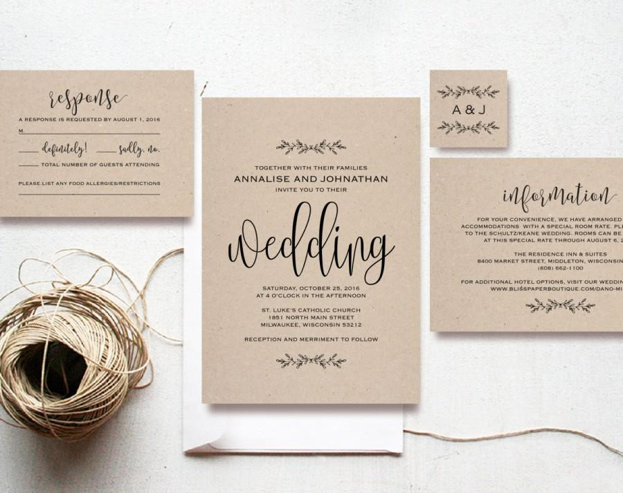 Best ideas about Cheap DIY Wedding Invitations . Save or Pin Kraft Wedding Invitation Printable Rustic Invitation Set Now.