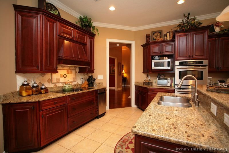 Best ideas about Cherry Cabinet Kitchen Ideas . Save or Pin Cherry Kitchen Cabinets With Gray Wall And Quartz Now.
