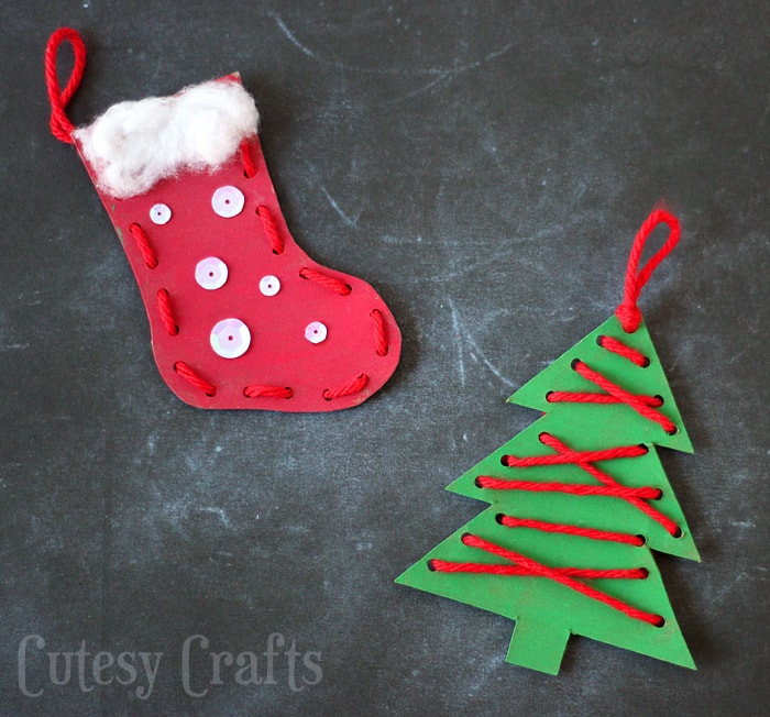Best ideas about Christmas Ornaments Craft Ideas For Kids . Save or Pin Christmas Craft for Kids Lacing Ornaments Cutesy Crafts Now.