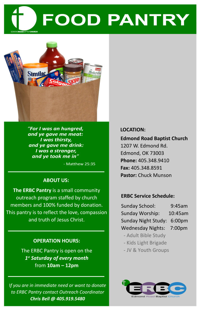 Best ideas about Church Food Pantry . Save or Pin Edmond Road Baptist Church Food Pantry Serving the Edmond Now.