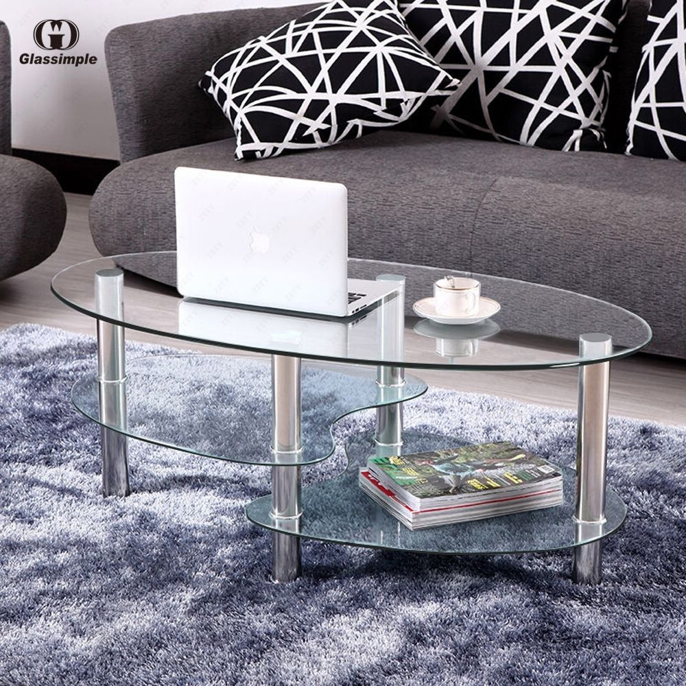 Best ideas about Clear Coffee Table . Save or Pin Clear Glass Oval Side Coffee Table Shelf Chrome Base Now.