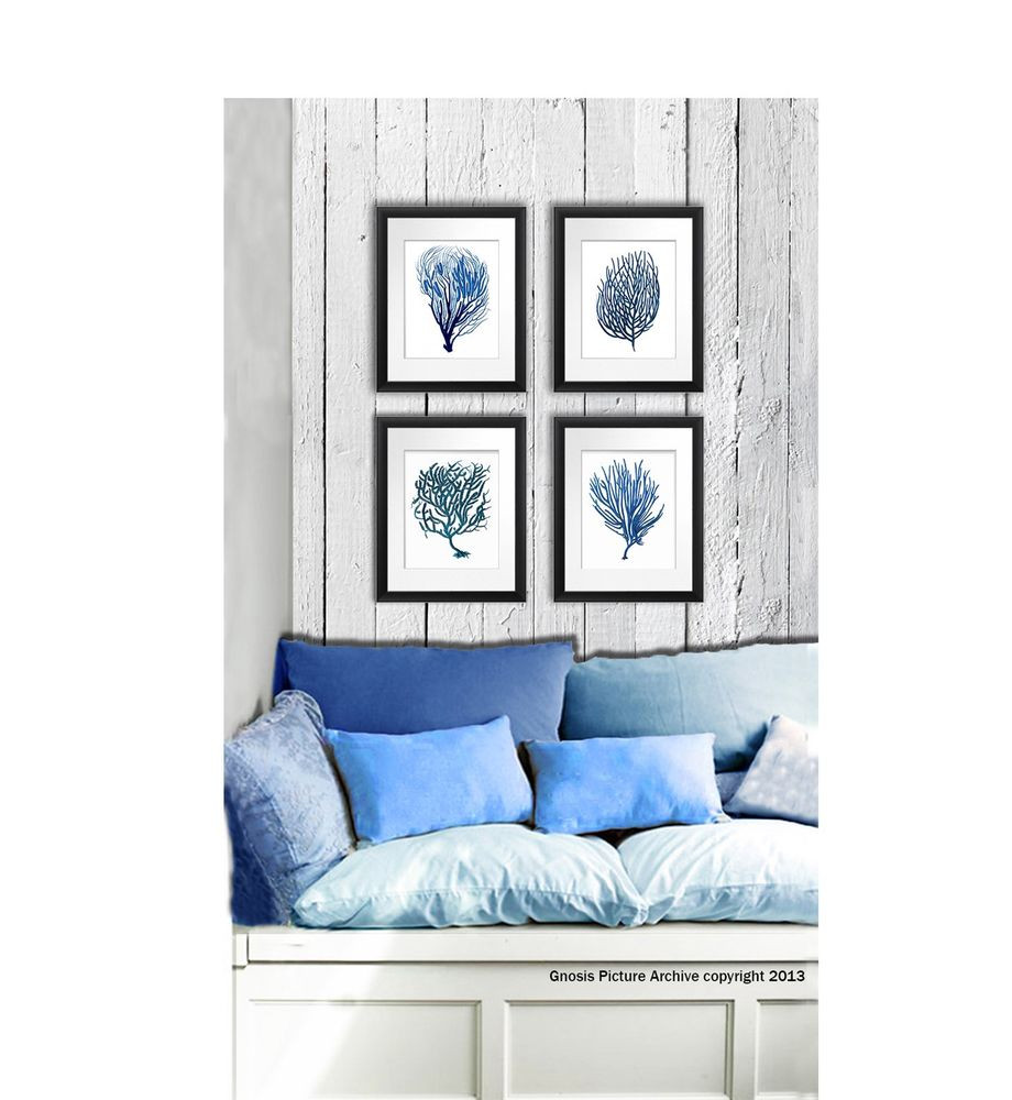 Best ideas about Coastal Wall Art . Save or Pin Wall Art beach decor Set of 4 Blue Sea Coral prints Now.