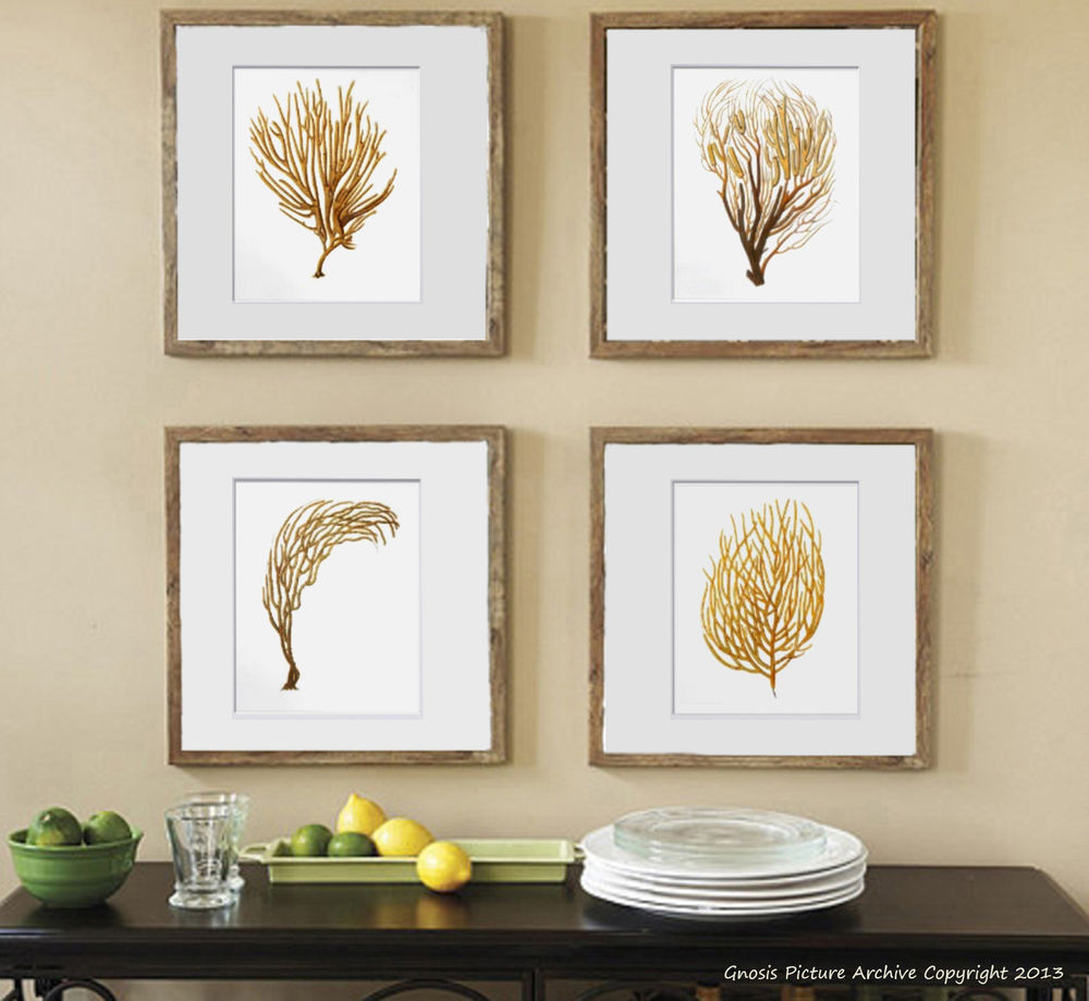Best ideas about Coastal Wall Art . Save or Pin Beach decor Wall Art Set of 4 Unframed Sea Coral prints Now.