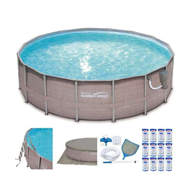 """Best ideas about Coleman Above Ground Pool Parts . Save or Pin Summer Waves Elite 16 x 48"""" Ground Frame Pool Set Now."""