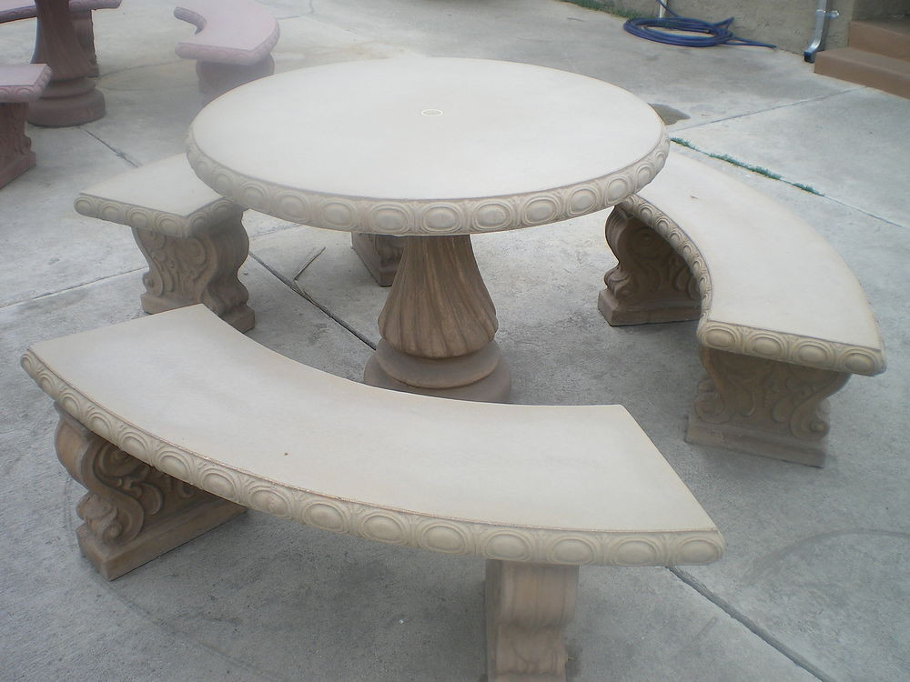 Best ideas about Concrete Patio Table . Save or Pin CONCRETE CEMENT TAN COLORED ROUND PATIO PICNIC TABLE WITH Now.