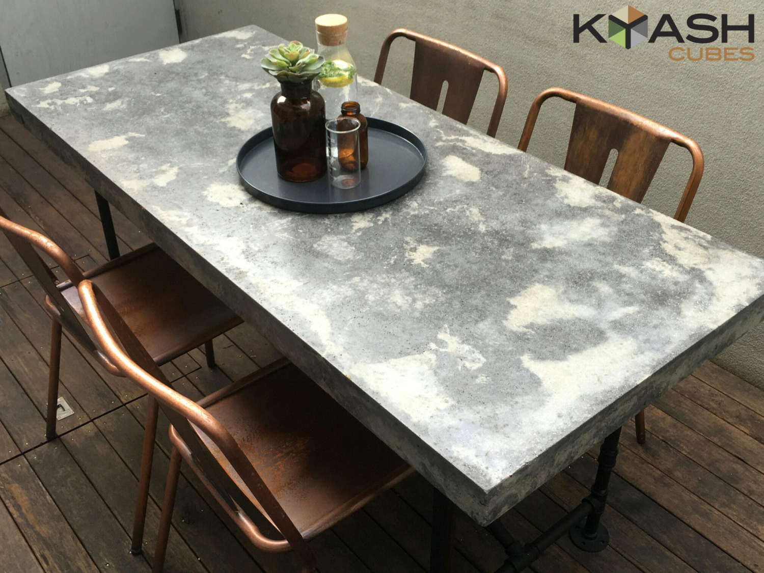 Best ideas about Concrete Patio Table . Save or Pin Polished concrete dining table patio outdoor industrial look Now.