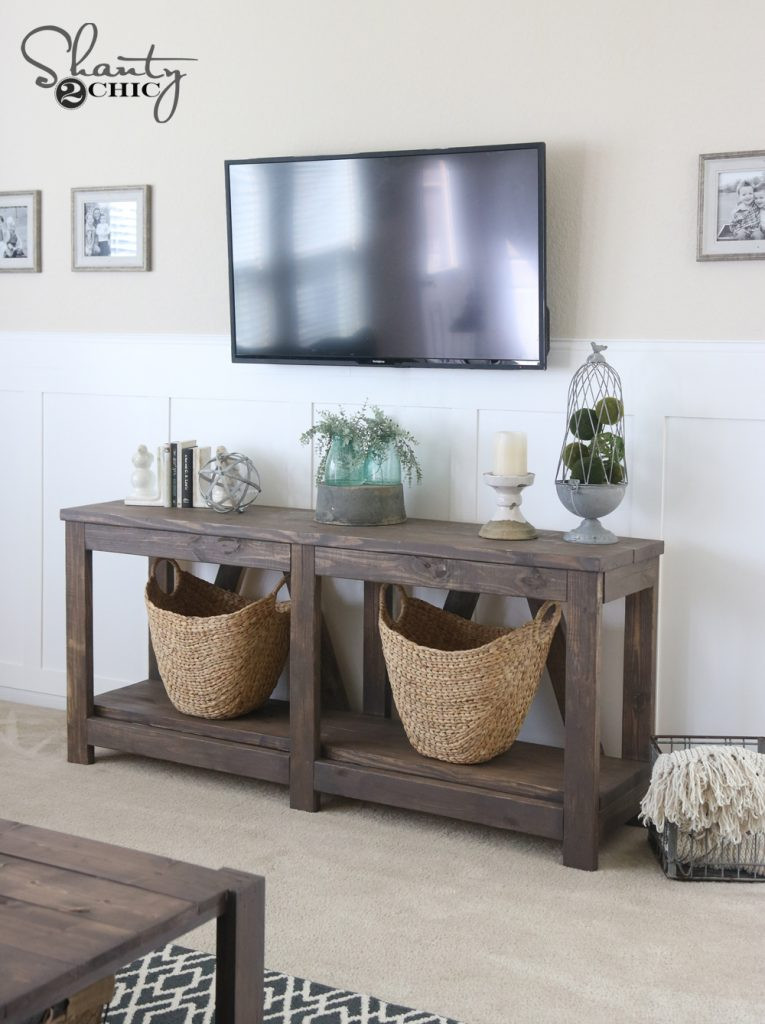 Best ideas about Console Table DIY . Save or Pin DIY Diagonal Base Farmhouse Console Table Shanty 2 Chic Now.