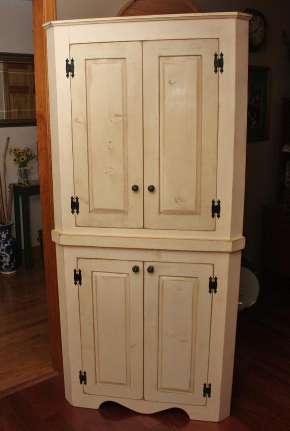 Best ideas about Corner Pantry Cabinet . Save or Pin Hutch China Corner FREE SHIPPING Cabinet Pantry Shabby Now.