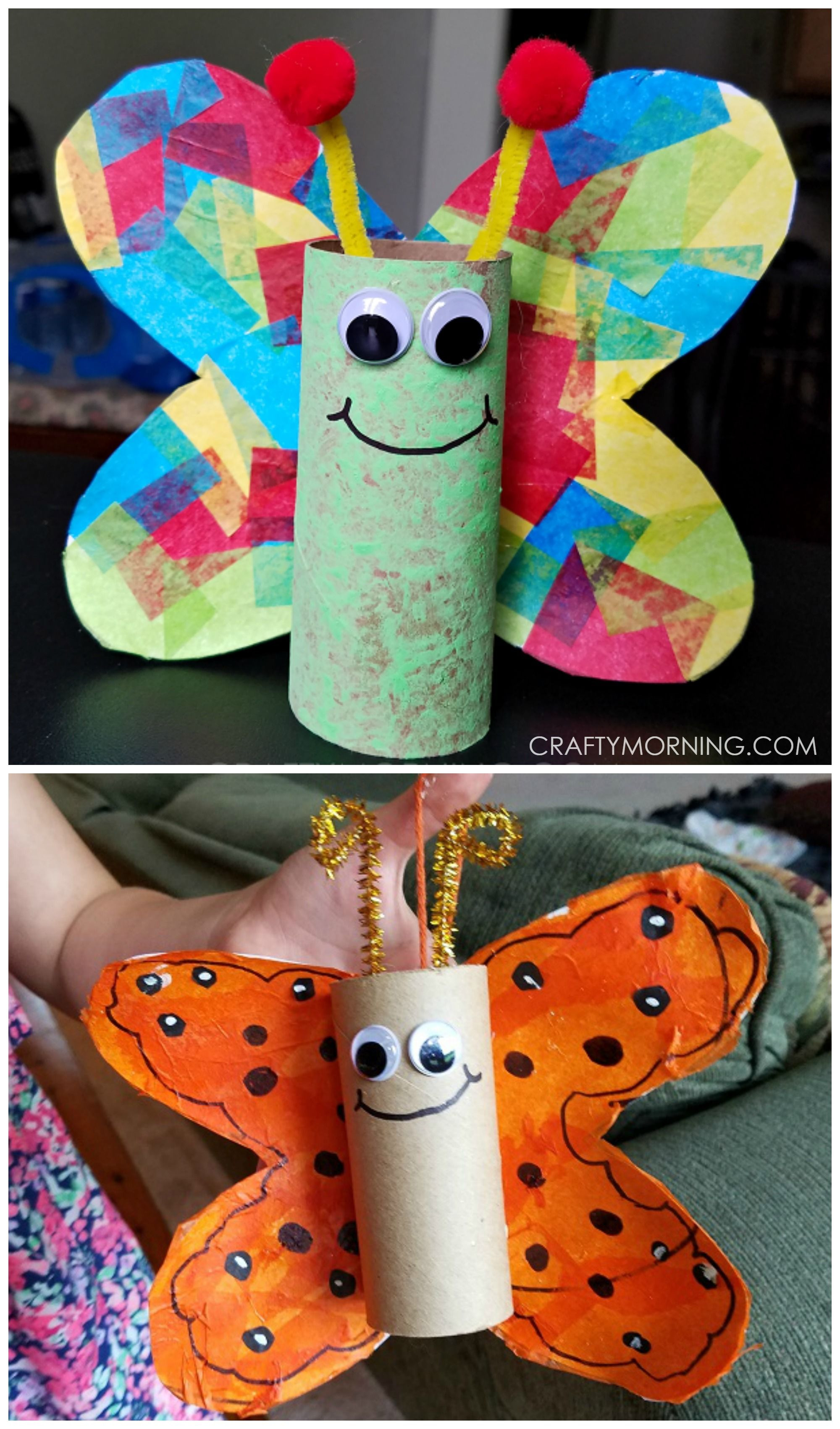 Best ideas about Craft Ideas For Kids With Paper . Save or Pin Cardboard tube butterfly craft for kids to make Perfect Now.