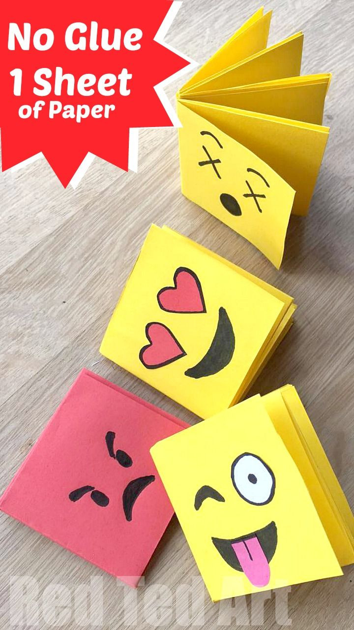 Best ideas about Craft Ideas For Kids With Paper . Save or Pin Emoji Mini Notebook DIY e Sheet of Paper Now.
