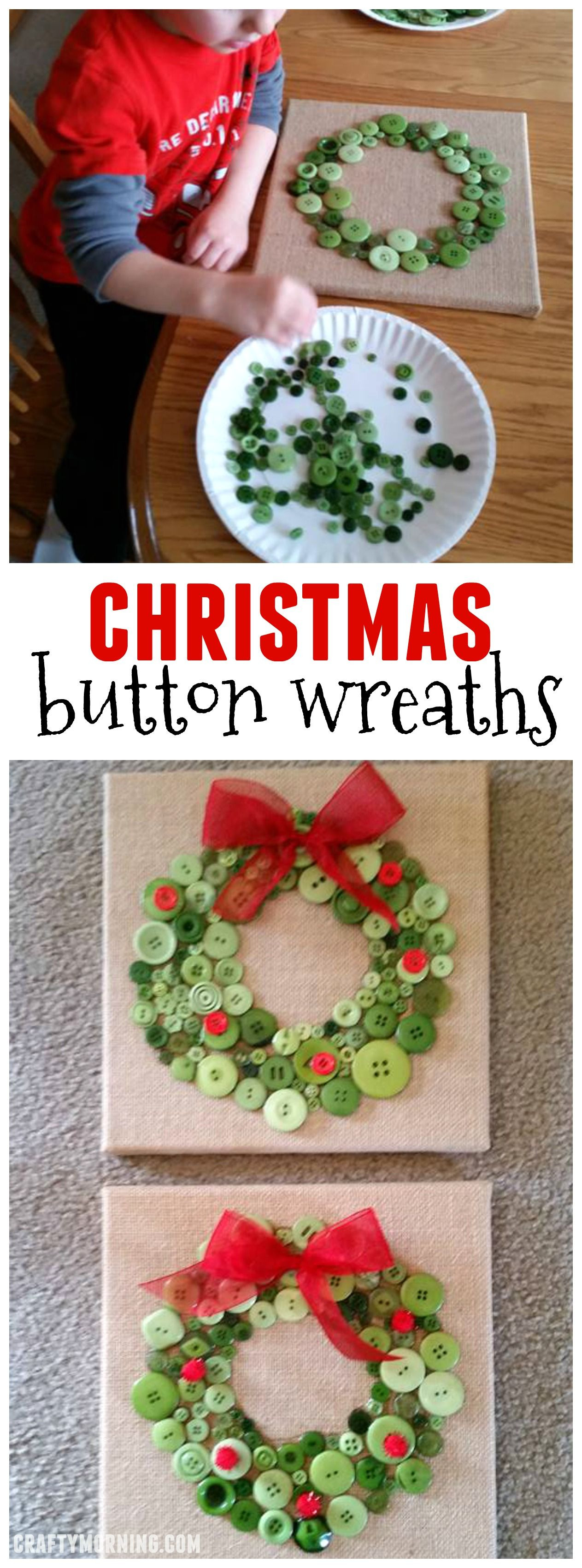 Best ideas about Crafts For Christmas Gifts . Save or Pin Christmas button wreaths for a kids craft oo cute Now.