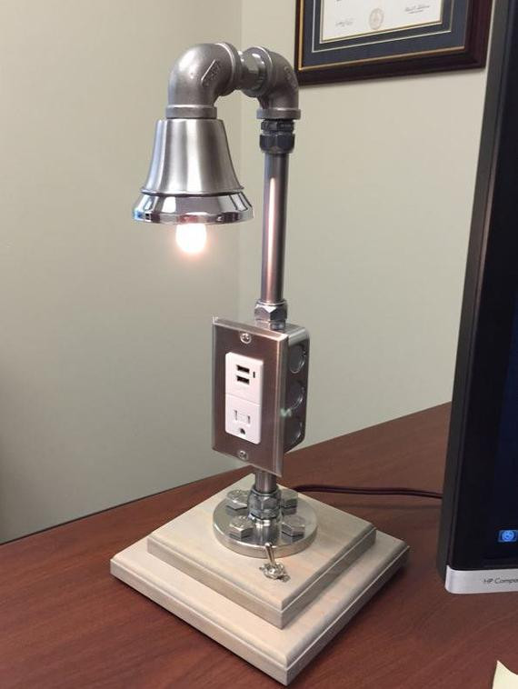 Best ideas about Desk Lamp With Outlet . Save or Pin Industrial Desk Lamp Custom Made Stainless by Now.