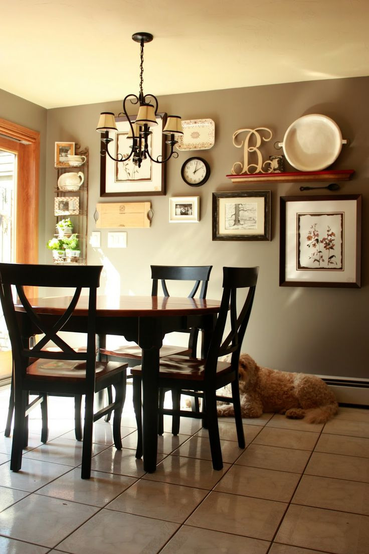 Best ideas about Dining Room Wall Art . Save or Pin Gallery wall but change put shelf in middle and pictures Now.