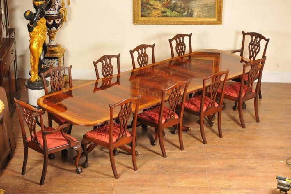 Best ideas about Dining Table And Chair Set . Save or Pin Regency Dining Set Pedestal Table and 10 Chippendale Now.