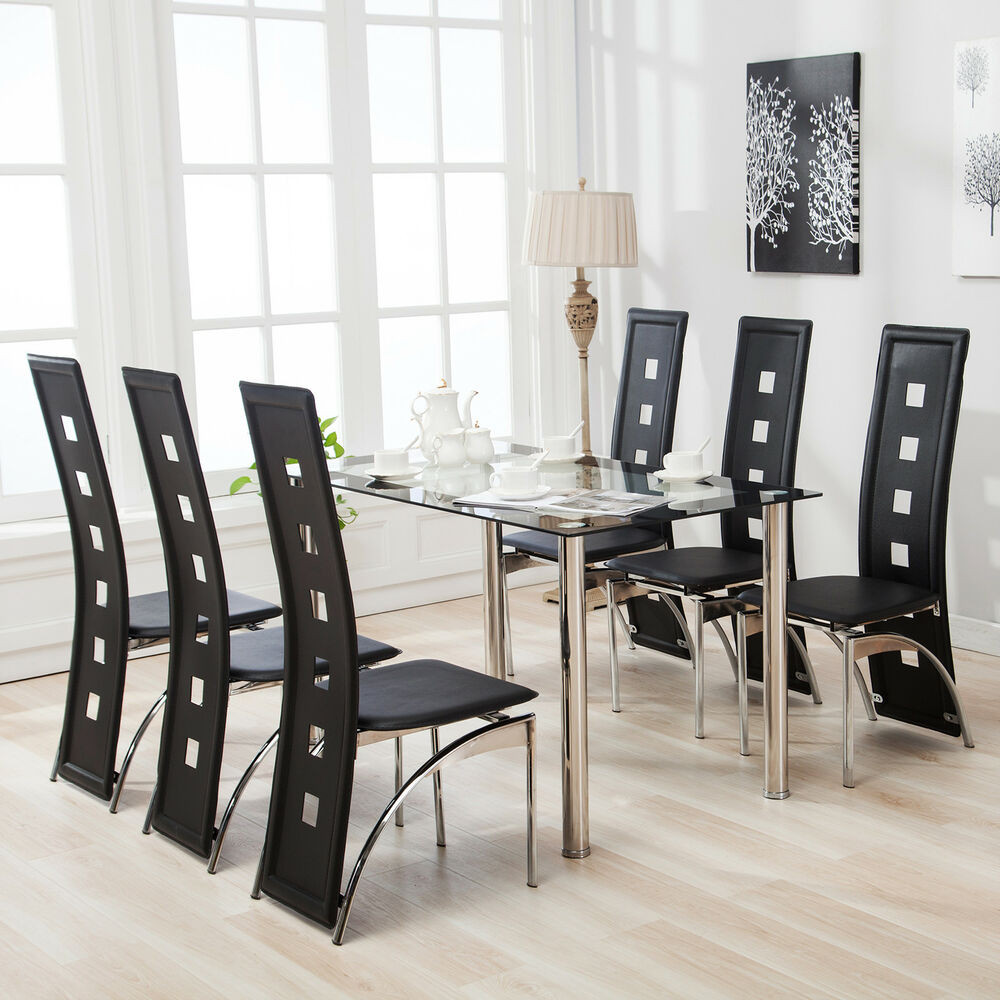 Best ideas about Dining Table And Chair Set . Save or Pin 7 Piece Dining Table Set and 6 Chairs Black Glass Metal Now.