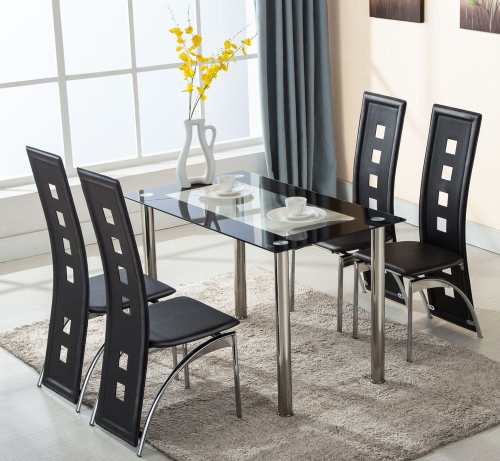 Best ideas about Dining Table And Chair Set . Save or Pin 5 Piece Glass Dining Table Set 4 Leather Chairs Kitchen Now.