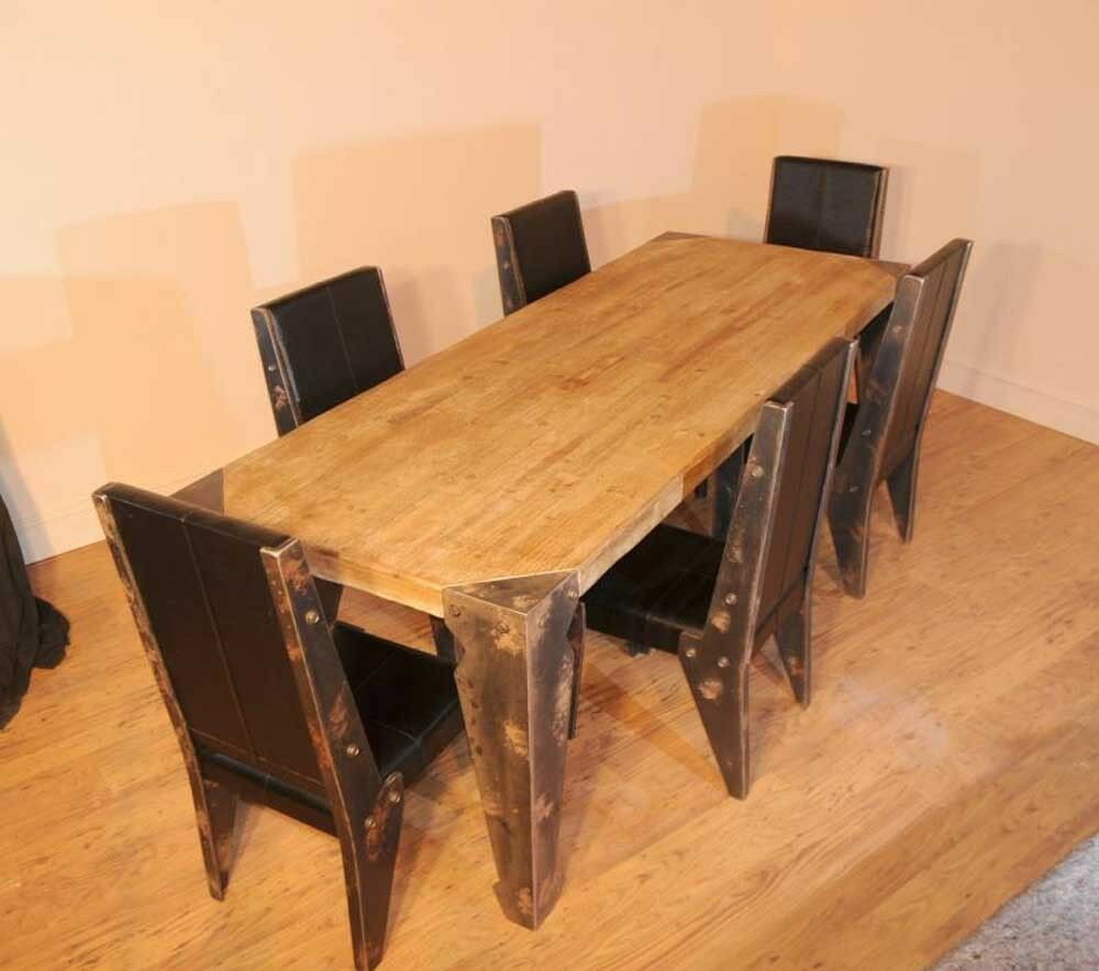 Best ideas about Dining Table And Chair Set . Save or Pin Industrial Dining Table Chair Set Vintage Now.