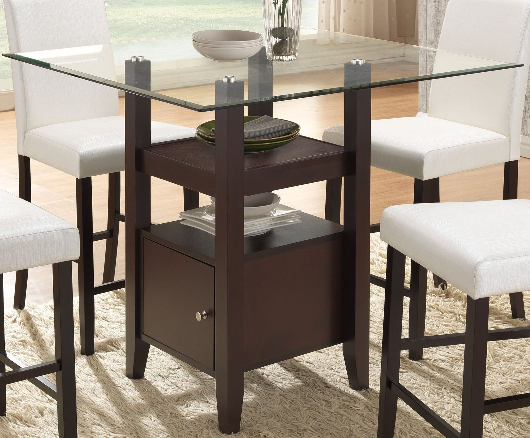 Best ideas about Dining Table Height . Save or Pin Natasha Cappuccino Glass Counter Height Dining Table Now.