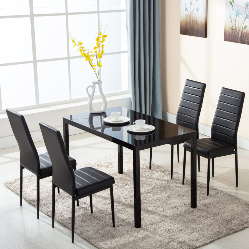 Best ideas about Dining Table Sets . Save or Pin 5 Piece Glass Metal Dining Table Furniture Set 4 Chairs Now.