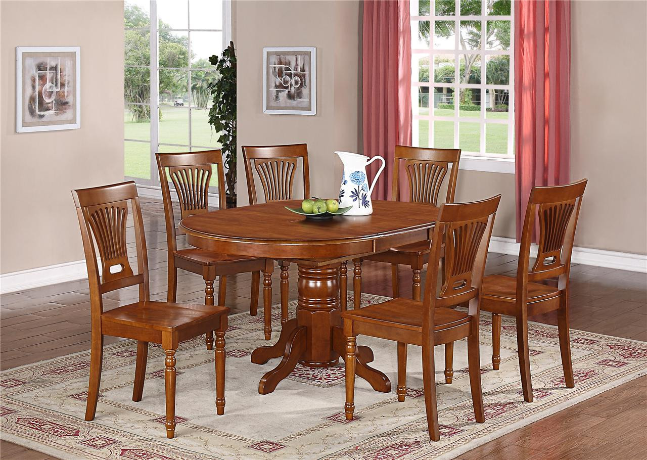 Best ideas about Dining Table Sets . Save or Pin 7 PC OVAL DINETTE KITCHEN DINING SET TABLE w 6 WOOD SEAT Now.