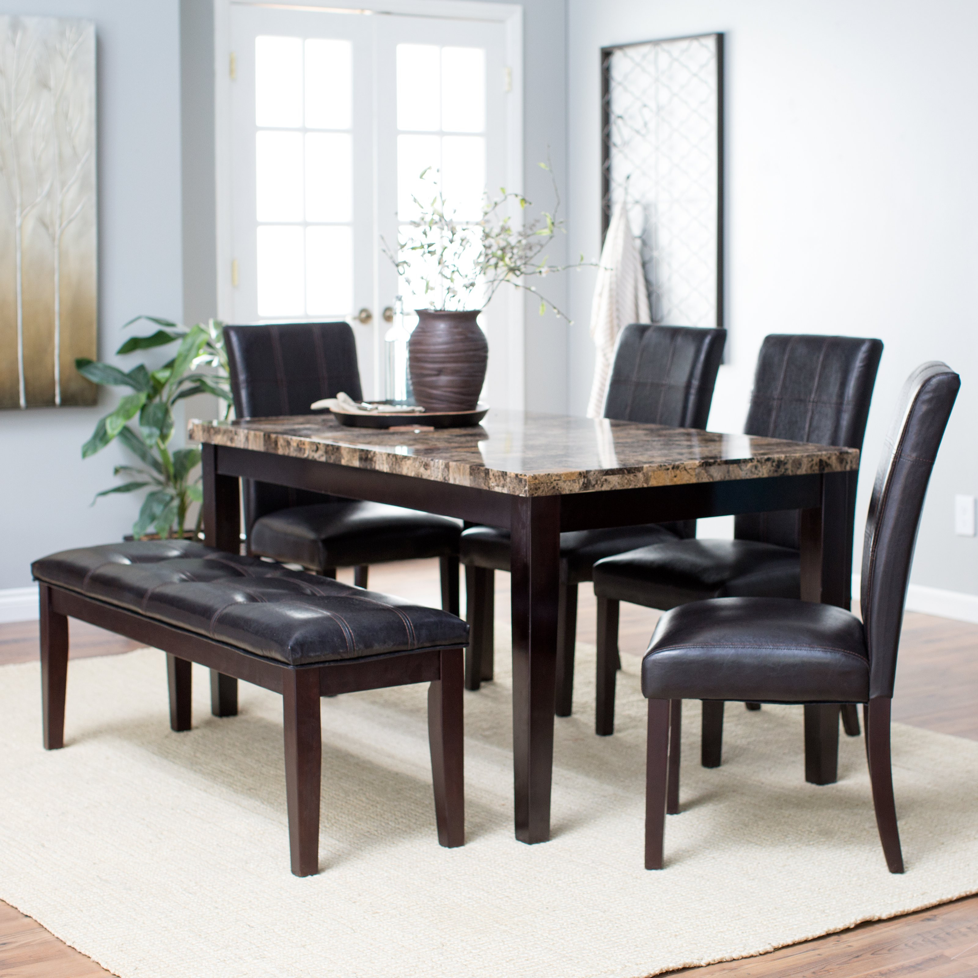 Best ideas about Dining Table Sets . Save or Pin Finley Home Palazzo 6 Piece Dining Set with Bench Now.