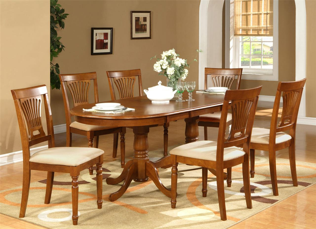 """Best ideas about Dining Table Sets . Save or Pin 7PC OVAL DINING ROOM SET TABLE 42""""X78"""" with LEAF and 6 Now."""