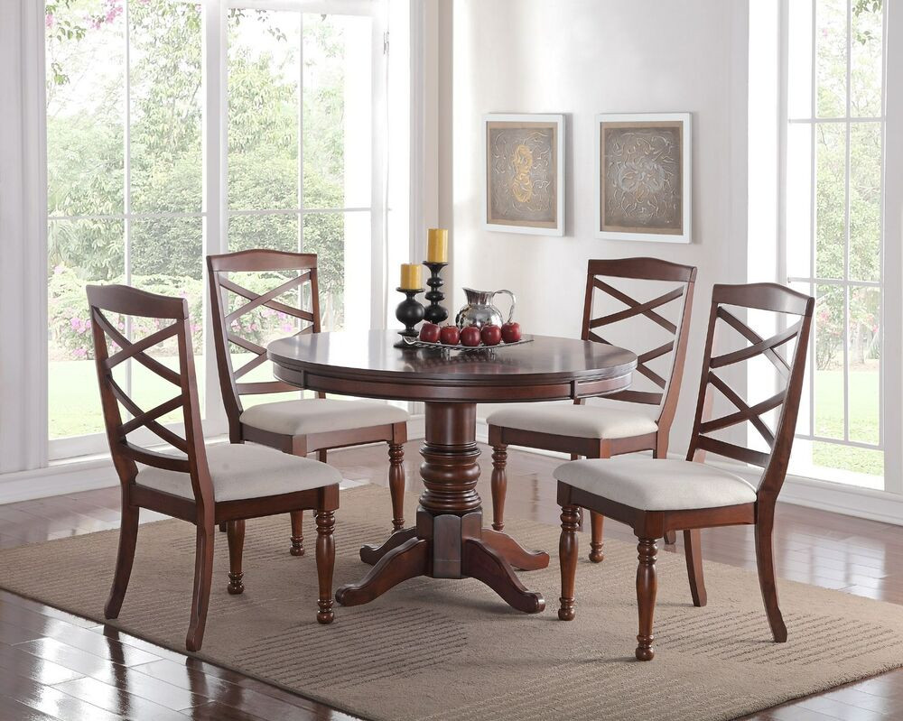 Best ideas about Dining Table Sets . Save or Pin EDEN 5PC ROUND PEDESTAL CHERRY FINISH WOOD KITCHEN DINING Now.