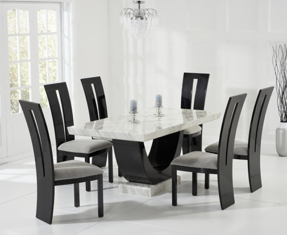 Best ideas about Dining Table Sets . Save or Pin Raphael 170cm Cream and Black Pedestal Marble Dining Table Now.